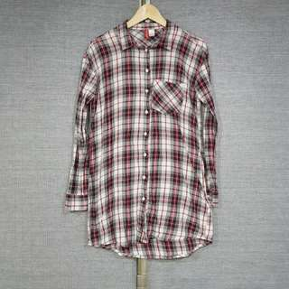 H&M DIVIDED Cotton Plaid Checkered Long Top