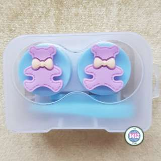 Purple Bear Blue contact lens case