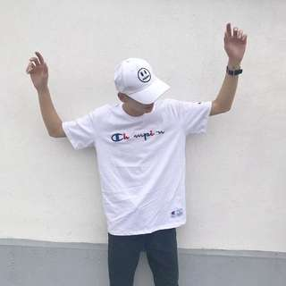 Champion tee with blk/white/grey