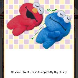 Toreba Sesame Street Elmo and Cookie Monster fast asleep plush
