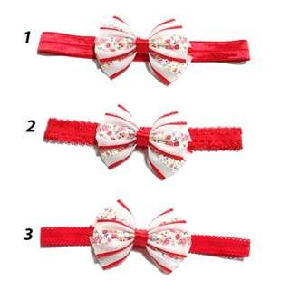 Handmade Korean Style Red Material Lattice Flower Hair Bow Elastic Headband