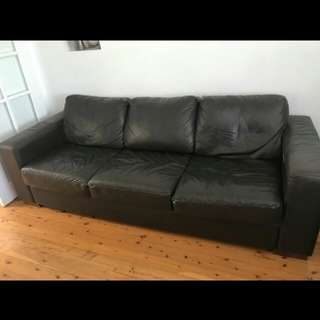 Long leather lounge pre owned