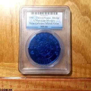 1981年美國新奧爾良花車迅遊鋁制獎幣一枚 ACCA評級
