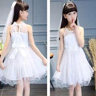 White Wedding Princess Girl Dress With Bow Head Veil