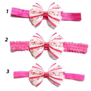 Handmade Korean Style Virtual Pink Material Lattice Flower Hair Bow Elastic Headband