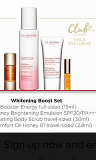 Clarins face set (New)- whitening & energy boosting