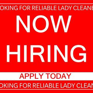 Looking Lady Cleaner (Bank transfer $ each completed job)