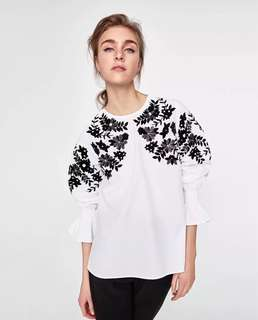 European and American style chest sequins flower heavy embroidery sleeve head shirt