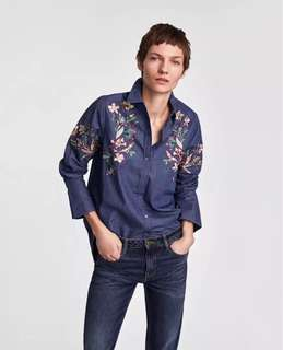 European and American style chest sequin embroidery flower lapel washed denim shirt