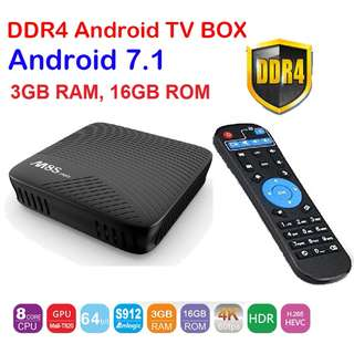 SALE! M8S Pro Android 7.1 TV Box Quad DDR4 Amlogic S912 64 bit Octa core 3GB 16GB ROM BT 4.1 WiFi Smart Set Top Box Media Player with remote control