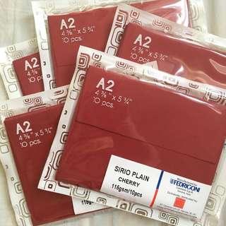 5 Packs (50 pcs) A2 Envelopes Red 115gsm