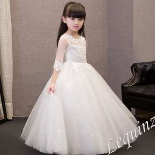 Exquisite Soft Lace Kids Princess Dress See thru Long sleeve Lace gown Girls Birthday party