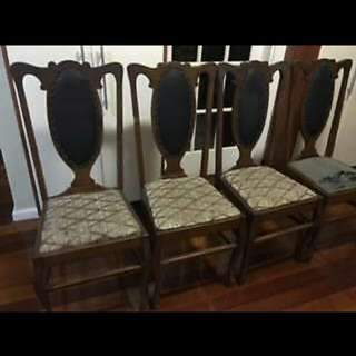 1927 Vintage High Back Timber Chairs! $170 for 4 Or $50 each