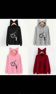 (PO)cute women cat ear girl hoodie sweatshirt hooded coat top Long sleeve blouse