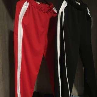 高開衩 白線運動褲