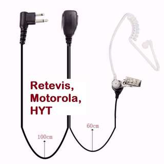 New! 2 Pin Acoustic Tube Headset Retevis Motorola, HYT, Noise Reduction Covert Headset Motorola GP68/GP300 Walkie Talkie C9025A