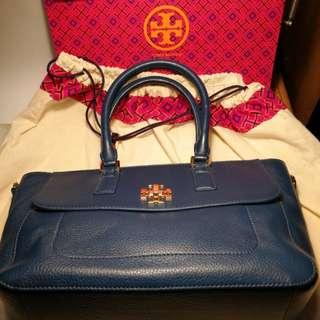 Tory Burch leather handbag 寶藍色真皮手袋