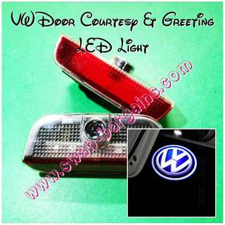 VW Volkswagen Logo Courtesy Greetings LED Light cum Ghost Shadow Projector Lamp Jetta Passat CC Golf Tiguan Touareg Scirocco EOS Sharan