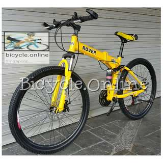 """ROVER 26"""" Foldable MTB / Mountain Bike ✩ full suspension ✩ SHIMANO 21 Speeds shifters, Disc Brakes ✩ Brand New Bicycle"""