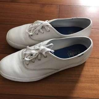 Keds白色荔枝皮厚底皮鞋白鞋布鞋休閒鞋平底鞋(原優惠價2421$)韓風鄭秀晶代言