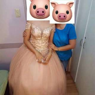 Peach Off Shoulder Ballgown For Rent