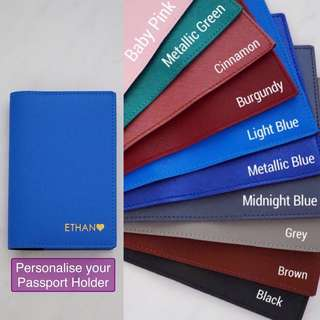 LM004- Light Blue Customised Personalised NAME Passport Holder Personalized High quality PU Leather Passport Cover Passport Case - Made to Order- 6mm Text Max 8 Caps