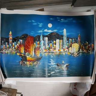 Hand Painted Modern Oil Painting on Canvas Hong Kong City Night Scene Landscape