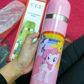 Turun harga jual rugi Termos gambar karakter kuda pony pink