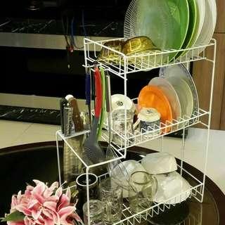 Rak piring 3 tingkat/rak gelas/rak kawat/rak serbaguna