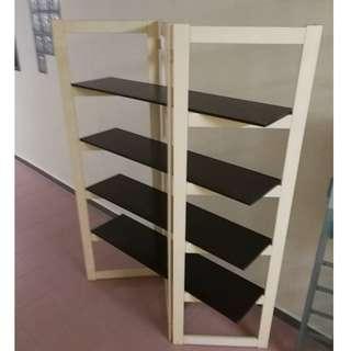 Designer Rack, Divider Rack (White Rack L57 x H180)(Dark Brown Panel L120 x W30 cm) * L08 C