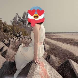 棉麻🌲裸腰❤️小心機❤️素面全白長洋裝