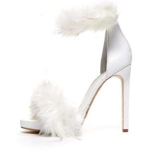 Jeffrey Campbell Cookie Fur Strap Heels in White