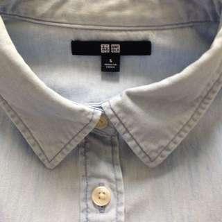 UNIQLO 牛仔襯衫(淺藍)女生
