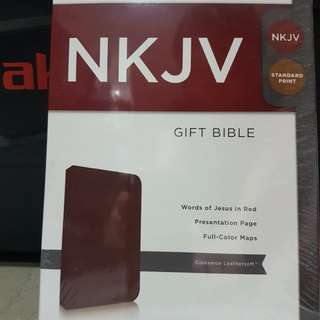 Bible- NKJV gift bible sealed in cinnamon leathersoft