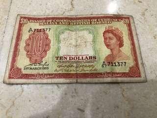 Malaya and british borneo $10