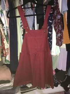 Pinafore dress / dungaree (3colors : maroon, black, mint)