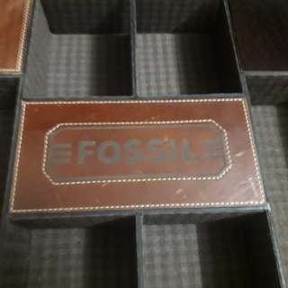 Fossil vintage leather suitcase boxy