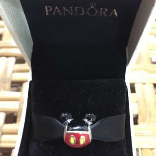BNIS Pandora Disney Sterling silver Mickey icon charm with black, red and yellow enamel(only uk have)
