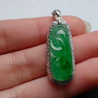 🎍18K White Gold - Grade A Icy Green Ruyi 万事如意 Jadeite Jade Pendant🎍