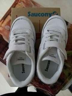 95% new - Saucony SY Baby Jazz Lite/white 幼童學童白波鞋球鞋 US9M 碼 ( 內長: 16.5cm)
