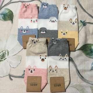 Women Three Tone Cat Socks