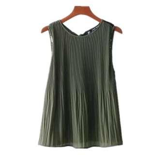 women's summer new style organ pleated back lace stitching bow lady chiffon sleeveless shirt
