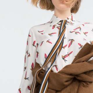 ZARA 八成新Bird Print Shirt