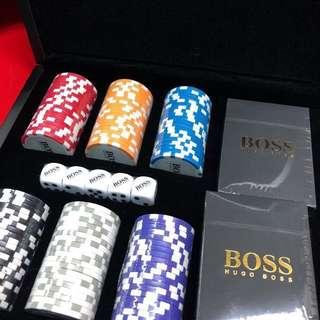Hugo Boss 撲克牌 籌碼 Poker chips set 套裝 禮盒 賭博 橋牌 遊戲 名牌 luxury 貴氣 奢華 簡約 禮物