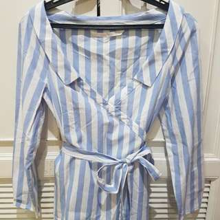 Zara V-Neck Crossover Striped Top