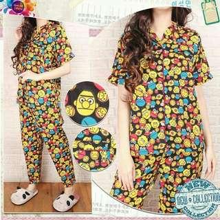SALE 2 Warna Setelan baju tidur Set Piyama Same Street piyama katun motif