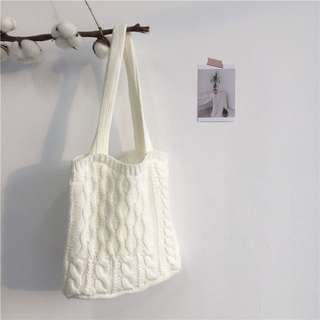 Knitted White Tote Bag