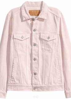 H&M Premium Millennial pink denim jacket