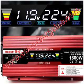 Premium Quality High Power 1600W Portable Car MPV Van Bike Power Inverter DC To AC Transformer 12V DC To 220V AC Inverter W USB Port Output with Colour LCD Indicator Screen Solar Panel Voltage Converter