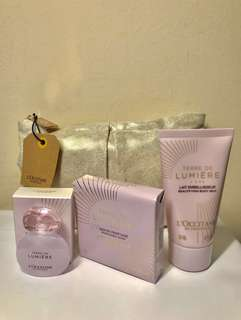 L'occitane (Loccitane) Terre De Lumière Set. AUTHENTIC. Check out FREE GIFTS on Listing. The soap bar is on sale at $11.50 in boutique & online